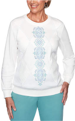 Alfred Dunner All About Ease Studded Embroidered Sweatshirt
