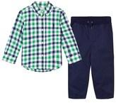 Ralph Lauren Green Check Poplin Shirt and Navy Chinos Set