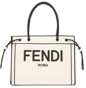Fendi Roma Shopper Small Canvas Tote Bag - White