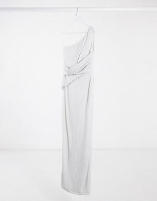AX Paris one shoulder glitter maxi dress in silver