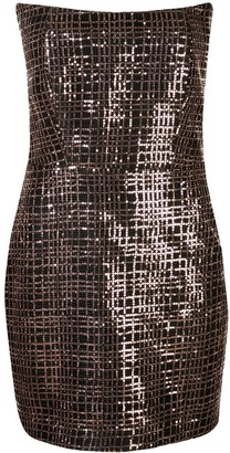 Mason by Michelle Mason Strapless Sequined Mini Dress