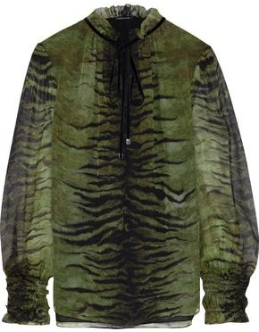 Elie Tahari Zeina Ruffle-trimmed Tiger-print Silk-chiffon Top