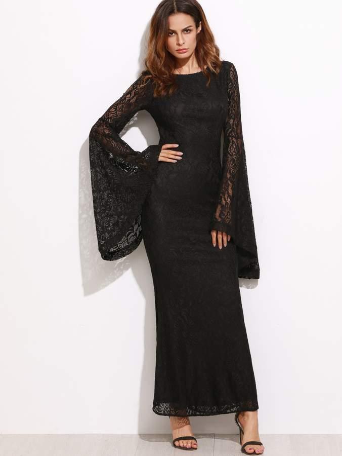 13c35612ea8b80 Black Lace Dress Bell Sleeves - ShopStyle