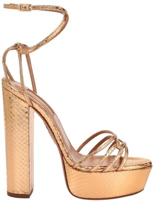 Aquazzura First Kiss Metallic Snakeskin-Embossed Leather Platform Sandals