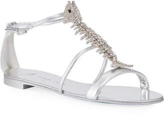 Giuseppe Zanotti Jeweled Fishbone Metallic Flat Sandals