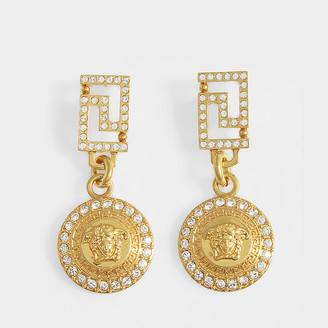 Versace Medusa Earrings In Golden Brass And Strass