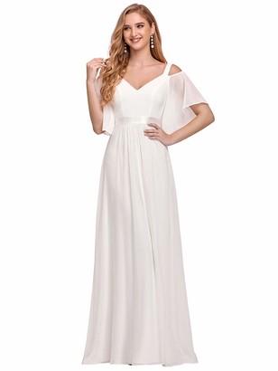 Ever Pretty Ever-Pretty Women's Elegant Cold Shoulder Short Sleeves Empire Waist A Line Floor Length Chiffon Wedding Guest Dresses Pink 16UK