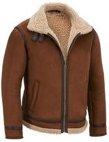 Black Rivet Mens Faux-Suede Jacket W/ Faux-Sherpa Collar