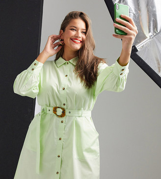 Native Youth Plus belted shirt dress with contrast buttons