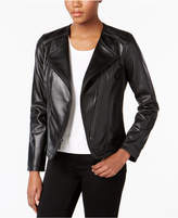 MICHAEL Michael Kors Asymmetrical Cutaway Leather Jacket