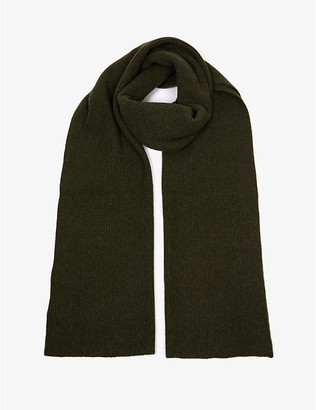 Ganni Logo-patch recycled wool-blend scarf