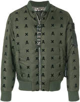 Philipp Plein skull patch bomber jacket