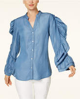 INC International Concepts Anna Sui Loves Ruffled Chambray Shirt, Created for Macy's