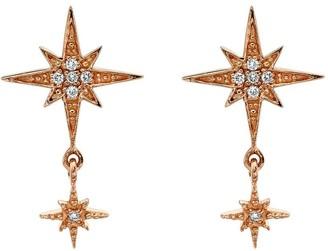 Sydney Evan 18kt rose gold diamond double Starbust earrings