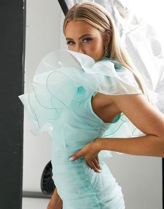Club L London organza ruffle one shoulder mini dress in mint