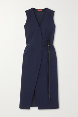 Altuzarra Cather Leather-trimmed Stretch-wool Wrap Midi Dress - Navy