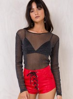 Motel Black Betina Mesh Top