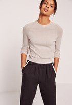 Missguided Grey Mesh Detail Crew Neck Sweater