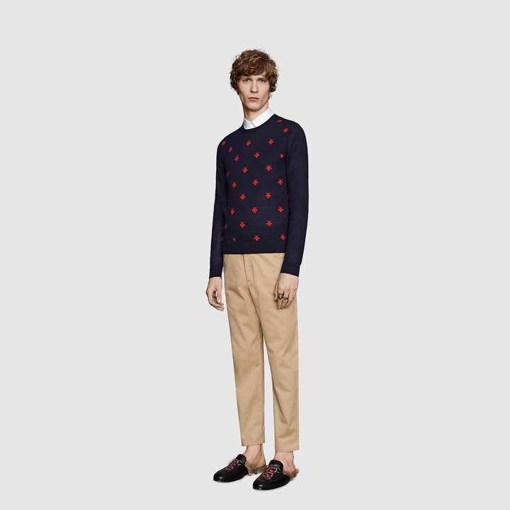 Gucci Wool crewneck with bees and stars