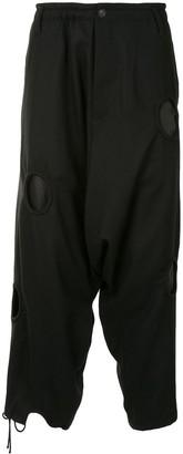 Yohji Yamamoto Circle Cut-Out Detail Loose Cropped Trousers