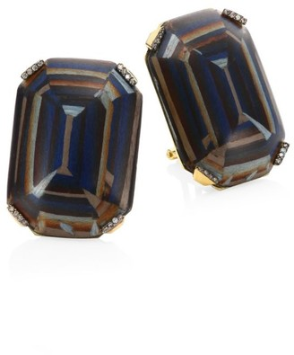 Silvia Furmanovich Marquetry Light Brown Diamonds & 18K Yellow Gold Stud Earrings