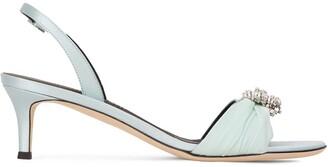 Giuseppe Zanotti Crystal Embellished Satin Slingback Sandals