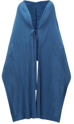Pleats Please Issey Miyake Tech-pleated Scarf Cape - Womens - Blue
