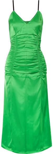 Helmut Lang Ruched Stretch-satin Midi Dress - Green
