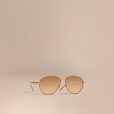 Burberry Check Detail Aviator Sunglasses