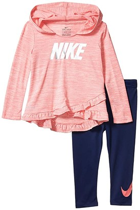Nike Ruffle Pullover Hoodie and Leggings Two-Piece Set (Toddler) (Blue Void) Girl's Active Sets