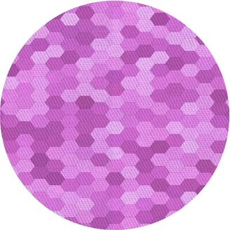 Milly Geometric Wool Purple Area Rug East Urban Home Rug Size: Round 4'