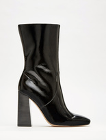 Halston Caroline Crinkle Patent Leather Mid-Calf Boots