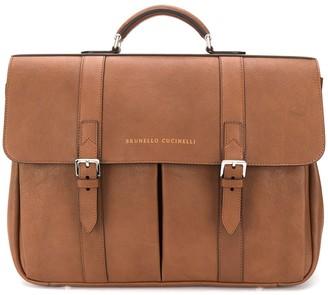 Brunello Cucinelli logo embossed satchel briefcase
