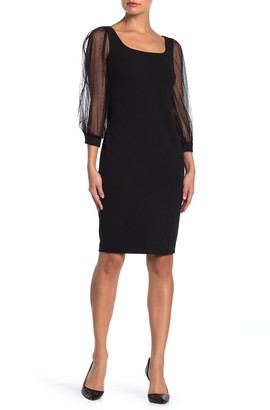 Calvin Klein Scoop Neck Illusion Sleeve Dress