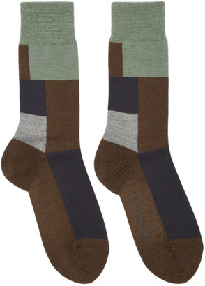 Gr Uniforma GR-Uniforma Brown Wool Mixed Textured Socks
