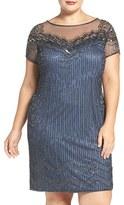Pisarro Nights Plus Size Women's Illusion Yoke Beaded Cocktail Dress