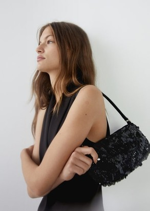 MANGO Sequins baguette bag black - One size - Women