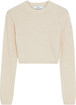 Area Cropped Sequin-embellished Wool-blend Sweater