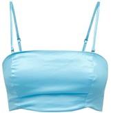STAUD Alessi Cotton-blend Satin Crop Top - Womens - Blue