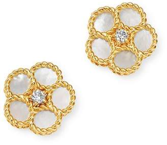 Roberto Coin 18K Yellow Gold Daisy Mother-of-Pearl & Diamond Stud Earrings - 100% Exclusive