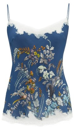 Carine Gilson Lace-trimmed Floral-print Silk Camisole - Womens - Blue Multi
