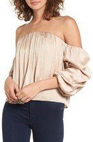 Leith Women's Gathered Satin Off-The-Shoulder Top