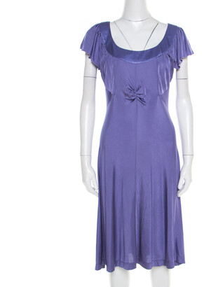 Philosophy di Alberta Ferretti Purple Jersey Ruched Bodice Detail Dress L