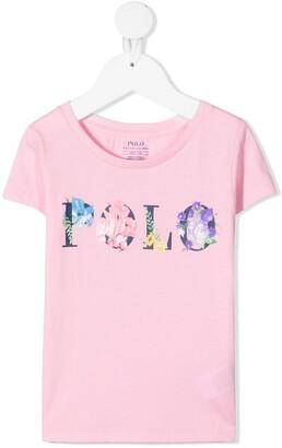Ralph Lauren Kids floral logo-print cotton T-shirt