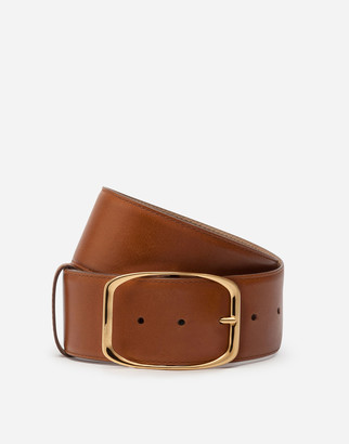 Dolce & Gabbana Belt In Vintage Calfskin With Square Buckle