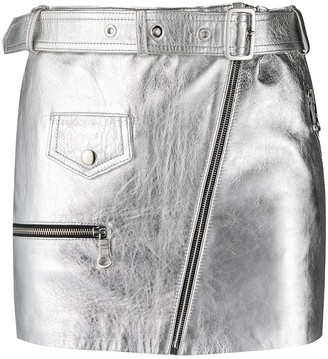 Manokhi Metallic-Sheen Biker Skirt