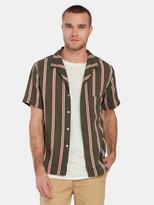 Native North Stripe Silk Blend Button Up Shirt