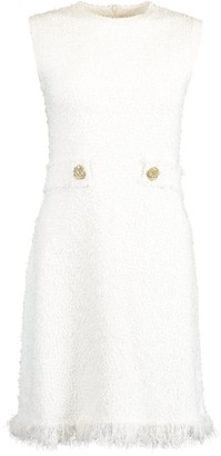 Oscar de la Renta White Sleeveless Tweed Sheath Belted Dress