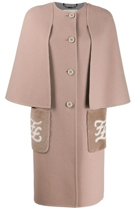 Fendi Logo Printed Midi Cape Coat
