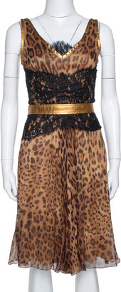 Dolce & Gabbana Brown Animal Print Chiffon Belted Sleeveless Dress S